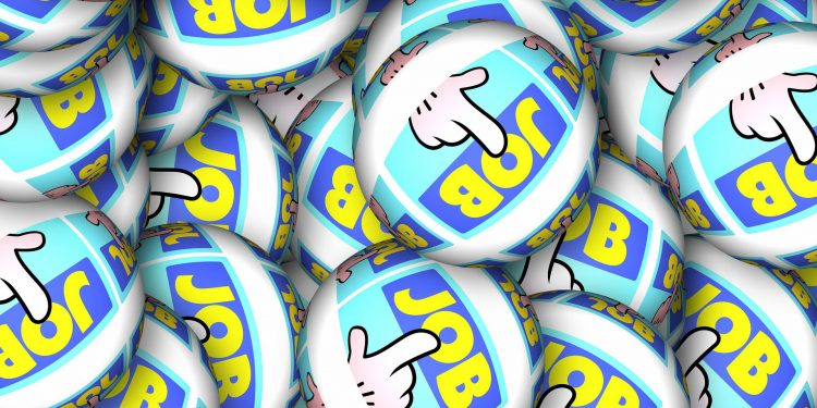 Multiple balls with a cartoon hand pointing to the word Job on them| Build your brand for recruiting