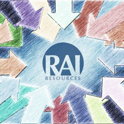 The RAI Resources logo surrounded by multi colored arrows