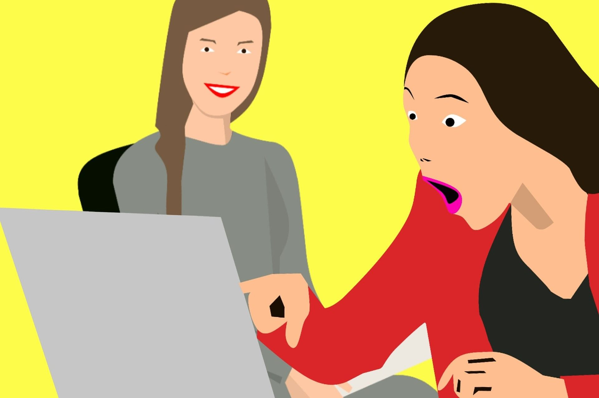 A drawing of two female employees looking at something on a laptop