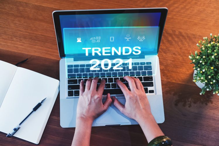 Trends for 2021 new year working on computer